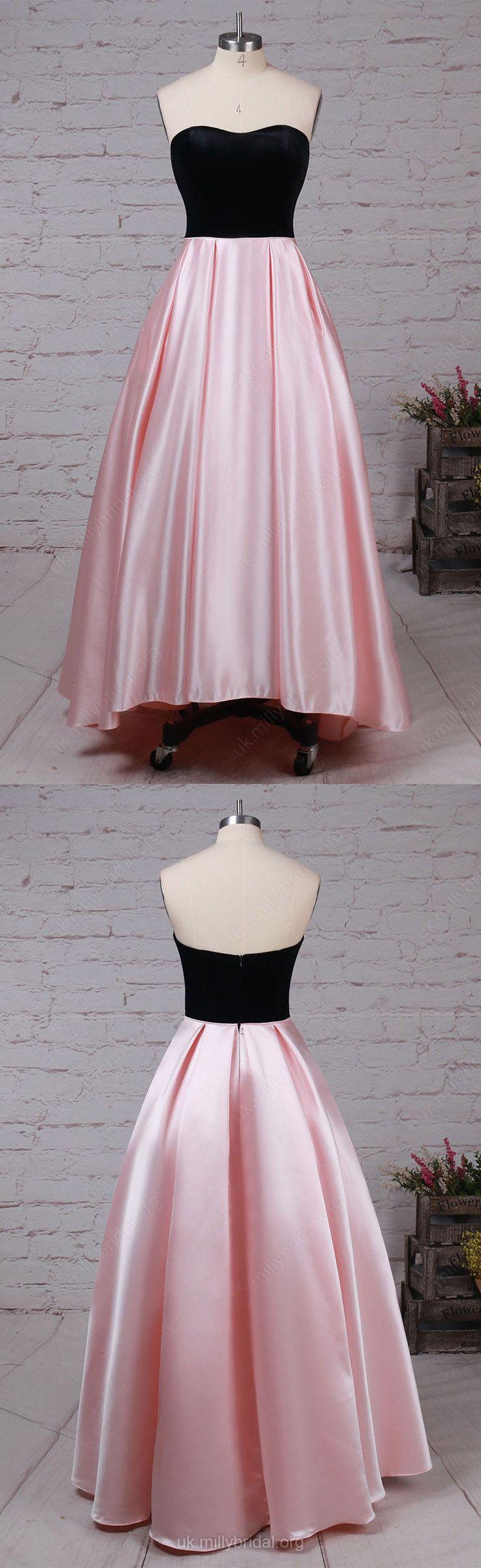 High Low Prom Dresses,Pink Prom Dresses,Ball Gown Prom Dresses For Teens,Satin Prom Dresses Strapless. Asymmetrical Prom Dresses Pockets #ballgowns