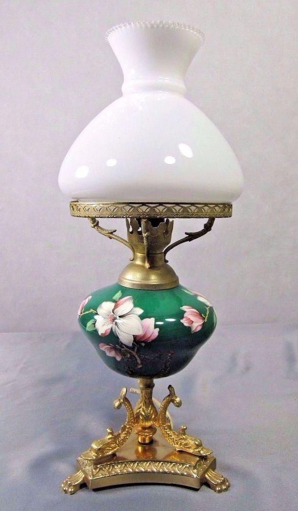 Italian Porcelain Boudoir Table Lamp With Brass Dolphin Base Lamp Antique Oil Lamps Antique Lamps