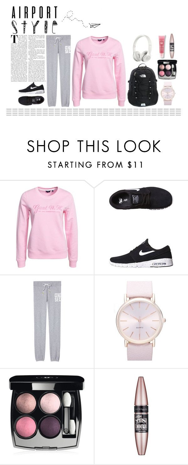 """""""Airport style"""" by fashionbylexi ❤ liked on Polyvore featuring GANT, NIKE, Victoria's Secret, Beats by Dr. Dre, BP., The North Face, Chanel, Maybelline and Lancôme"""