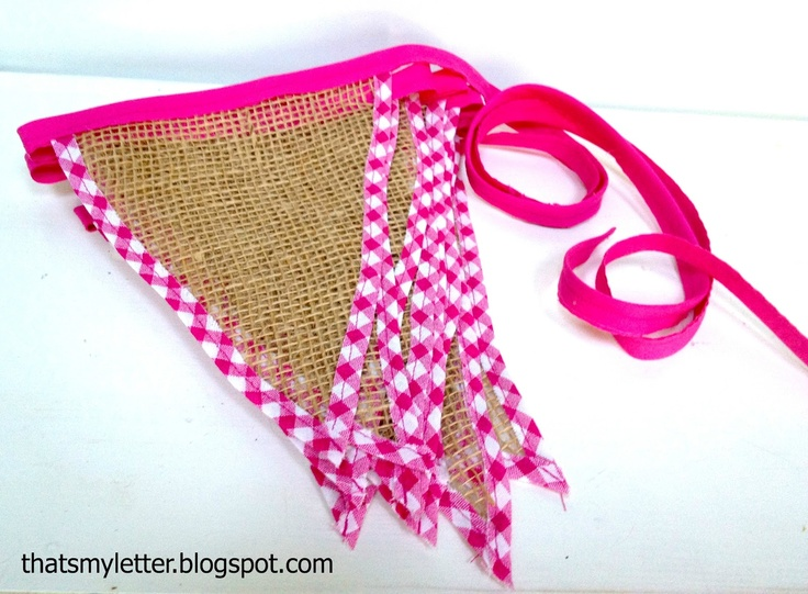 "That's My Letter: ""B"" is for Burlap Bunting, gingham trimmed burlap bunting"