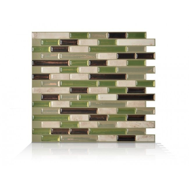 Smart Tiles In L And Stick Mosaic Decorative Wall Tile Backsplash Muretto Eco Green Bronze Beige At The Home Depot Mobile