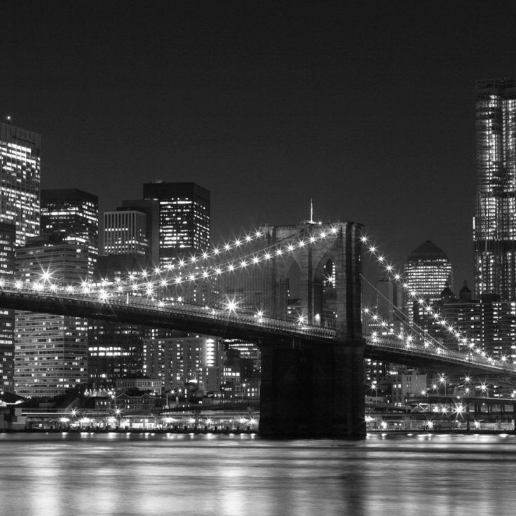 New york city skyline at night black and white