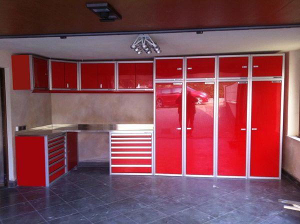 red moduline aluminum garage storage cabinets