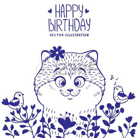 Cute and beautiful silhouette cartoon cat with a bird, happy birthday, котенок с цветочками, милый котенок