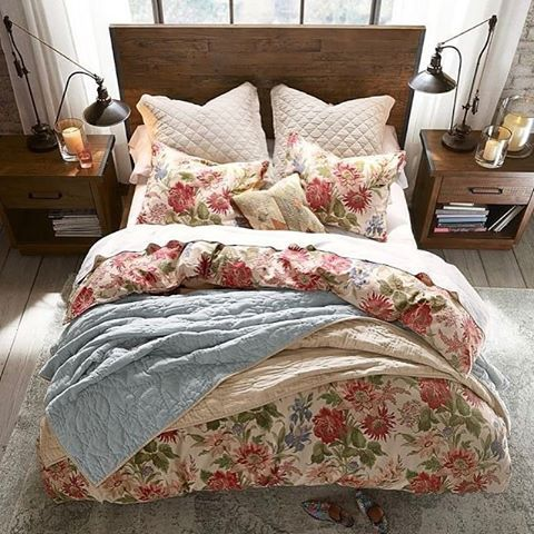 """1,432 Likes, 11 Comments - Pottery Barn (@potterybarn) on Instagram: """"Who says you can't mix florals into a rustic bedroom? We paired our Marla Floral Duvet with our…"""""""