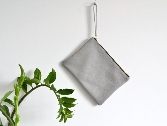 Wrist Strap Clutch Grey LEATHER POUCH  IPad Case  Italian
