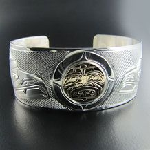 Raven Steals the Moon Silver and Gold Bracelet by Rick Johnson