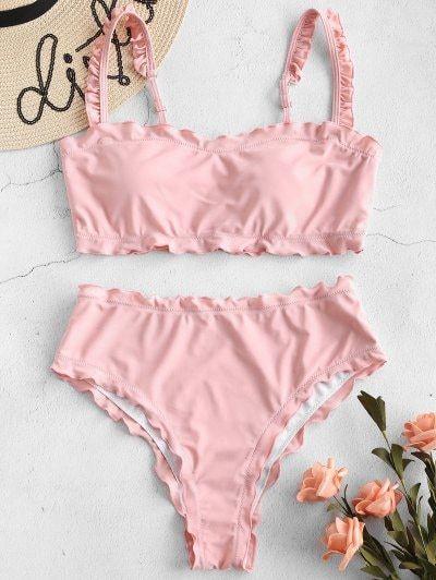 3c95f48be9be9 Lettuce Frilled Bandeau Bikini Set in 2019 | summer | Bandeau bikini set,  Zaful bikinis, Bikinis