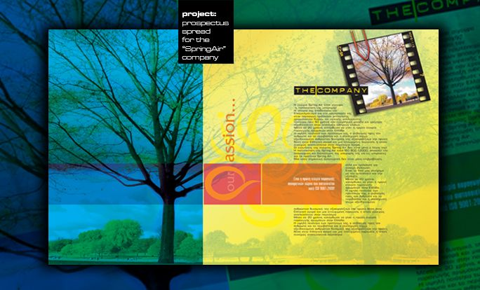 by Argiro Stavrakou, year 2004, main pages of a brochure made for a company that makes space and room aromatics named Spring Air