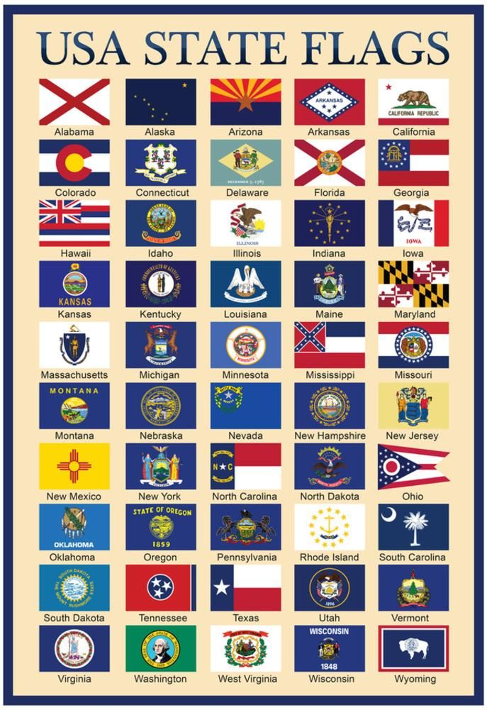 Usa 50 State Flags Chart Posters State Flags Motivational Prints Flag