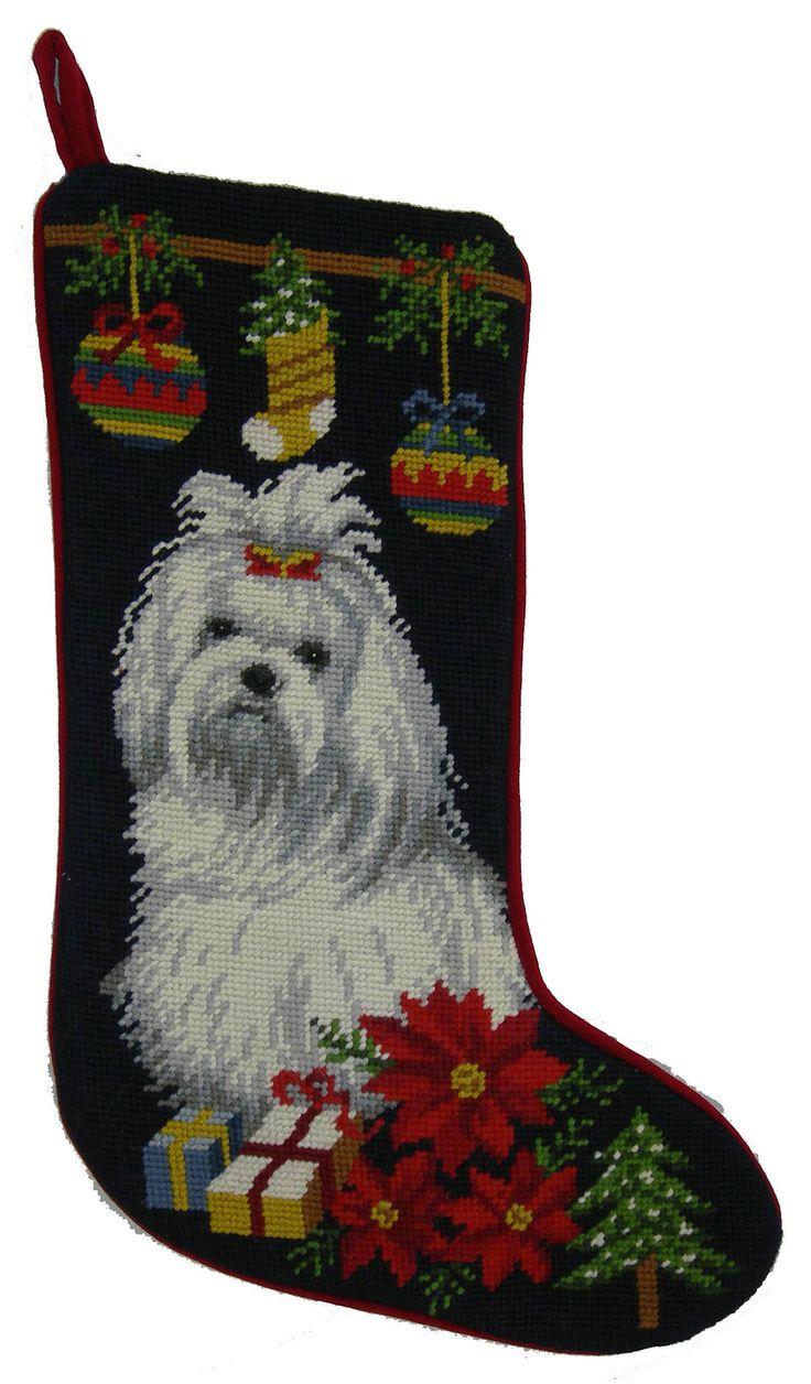 Maltese christmas ornaments - Maltese Dog Needlepoint Christmas Stocking