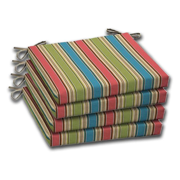 Comfort Classics Outdoor Tan Coral Blue Stripe Resin Chair Seat Pads - Set of 4 - HY-GD07056B-D9W2