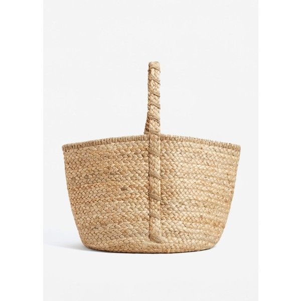 Jute Basket Bag (180 ILS) ❤ liked on Polyvore featuring bags, handbags, woven bag, beige purse, mango handbags, woven purses and mango bags