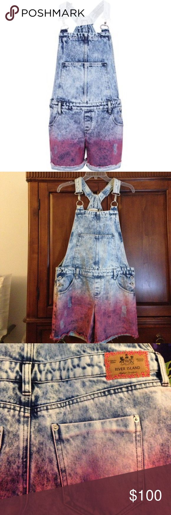 River Island Tye Dye Overalls NWT- Cool and very different overalls with metal closures on the straps, size 10(M), Sold Out Online River Island Jeans Overalls
