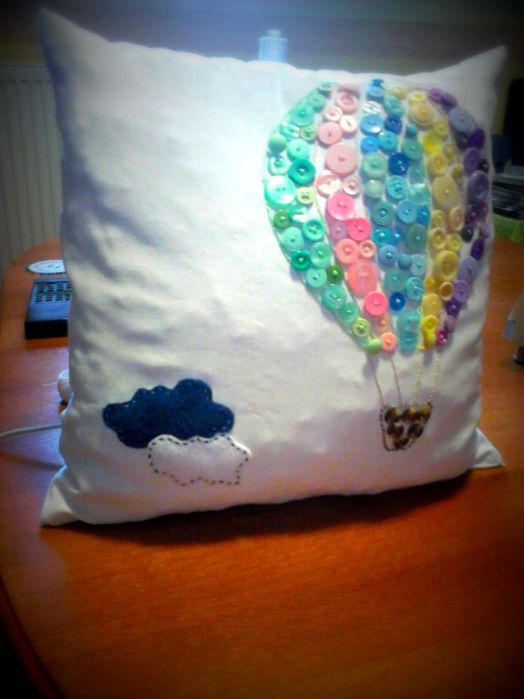 Pillow with clourful buttons