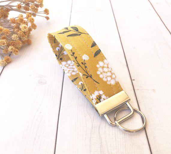 lanyard Mustard yellow floral Wristlet key fob gifts keychain