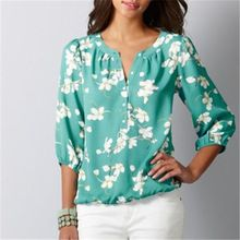2015 nova chegou mulheres moda impressão de três quartos das mulheres blusas de verão(China (Mainland))