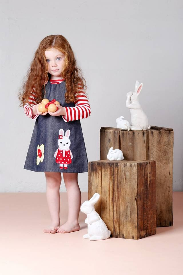 Limited edition bunny appliqué pinafore dress