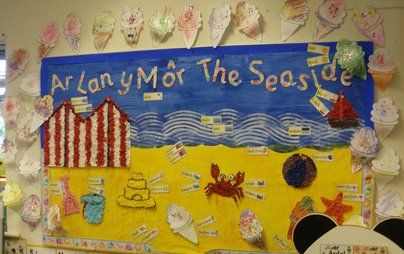 Ar Lan yMor Display, class display, welsh, seaside, sand, ice cream, crab, sea, foreign language, dfes, Early Years (EYFS), KS1& KS2 Primary Resources