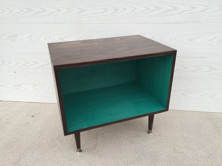 The Wee Record Player Stand Mid Century Modern Record Cabinet Media Table TV Stand Vinyl Storage, MCM TEAL and Chocolate Brown by TinyLionsDesigns on Etsy https://www.etsy.com/listing/263881382/the-wee-record-player-stand-mid-century
