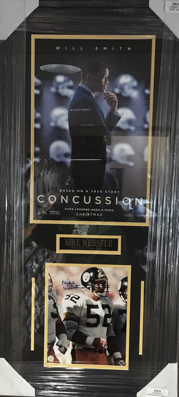 Mike Webster Signed 8x10 with 11x17 Concussion Poster - Professionally Framed