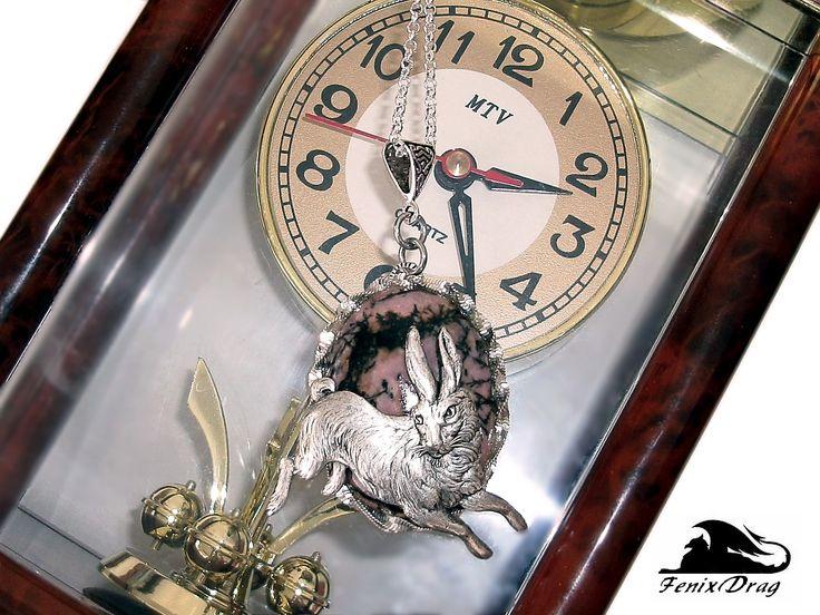 "Pendant ""Rabbit from Alice in Wonderland"" with rhodonite Steampunk, Vintage styles"