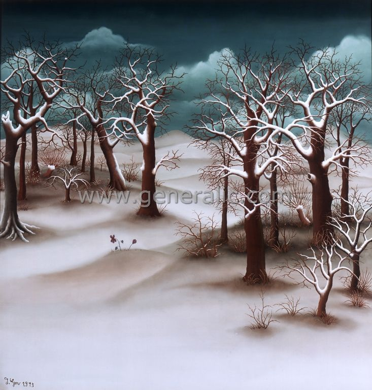 Forest during winter ORI, oil on glass, Ivan Generalic