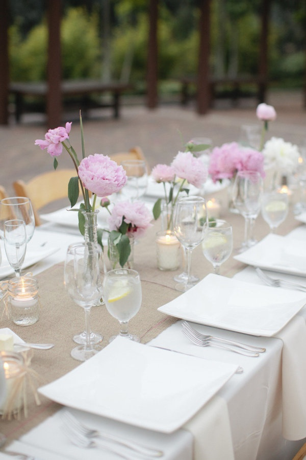 pretty table setting for a spring or early summer party