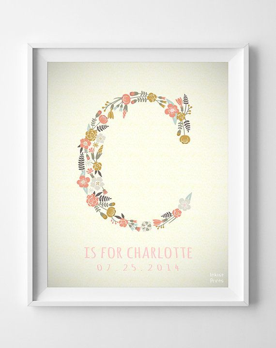 Custom Baby Name Art- Charlotte, Letter C Monogram Nursery Art, Initial Art, Alphabet C, Girl, Initial, Nursery Print, Wall Decor [NO 249]