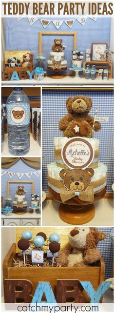 How adorable is this teddy bear baby shower in blue and brown! See more party ideas at Catchmyparty.com!