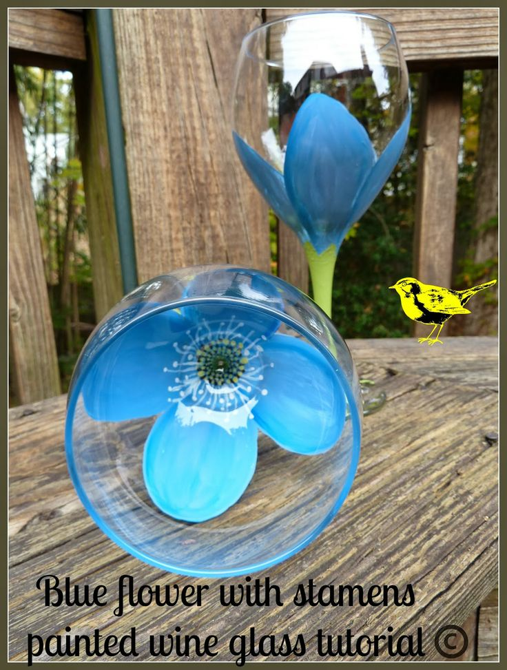 blue flower painted wine glass tutorial diy gifts