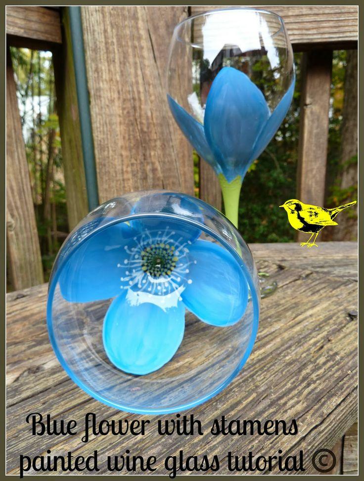 Blue flower painted wine glass tutorial
