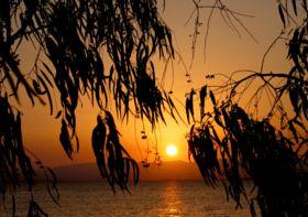 Peloponnese sunset - stock photo