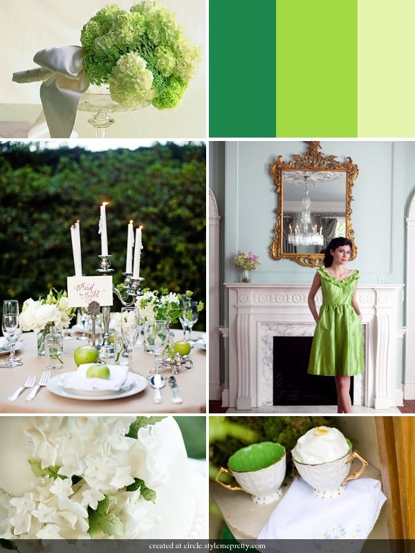 black and white weddings with accent color | Getting the Most from a Green Wedding Theme | Wedding Colors