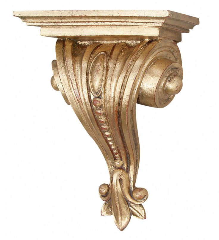Classical Scrolled And Beaded Bracket Wall Shelf, Gold Leaf Color Finish
