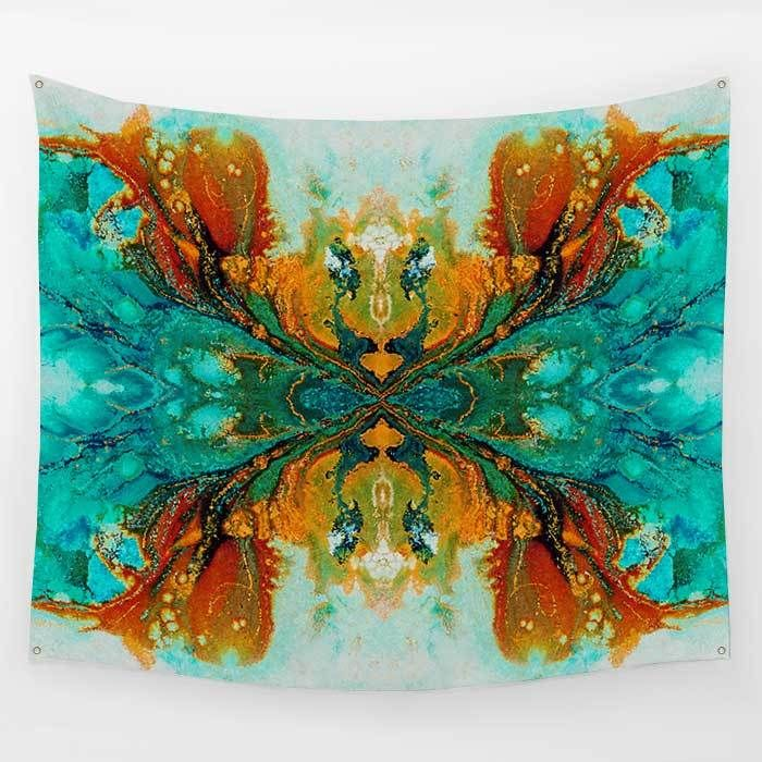 "Teal, Turquoise and Burnt Orange Abstract Wall Hanging Tapestry ""Phoenix"""