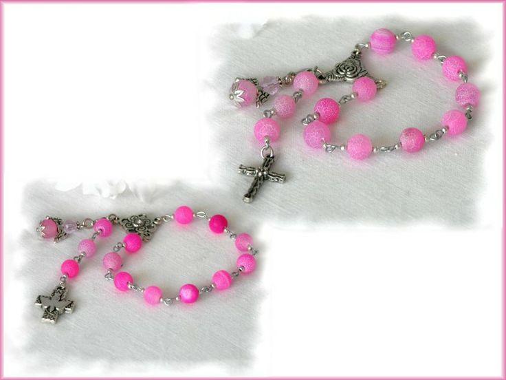 Achat in pink ! Taufrosenkranz mit Engel von Alpen-Juwel auf  http://de.dawanda.com/product/59019015-Achat-in-pink-Taufrosenkranz-mit-Engel