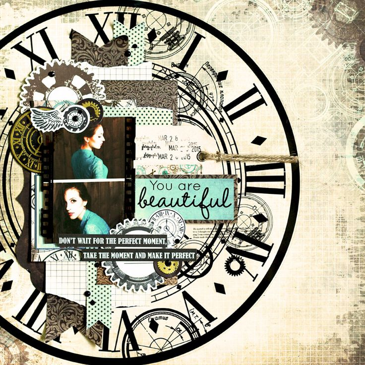 'You are Beautiful' layout by Julia Akinina for Kaisercraft using 'Time Machine' Collection Speciality Paper ~ Wendy Schultz ~ Scrapbook Pages 3.