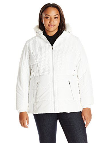 Details Women's Plus Size Puffer Coat with Braided Quilting Faux-Fur Trimmed Hood, Winter White, 1X >>> Details can be found by clicking on the image.