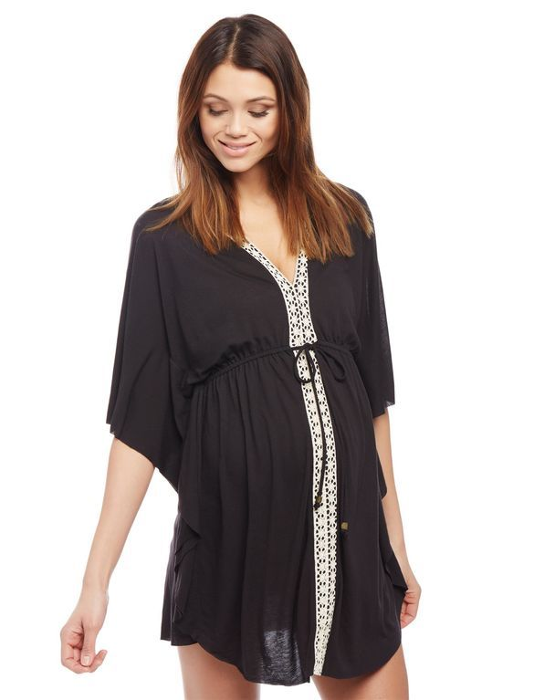 Crochet Detail Maternity Swim Cover-up, Black