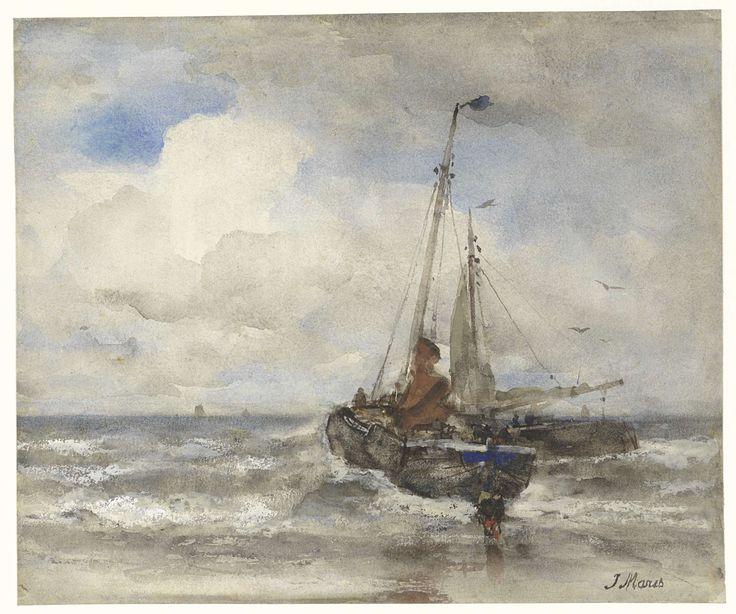 Jacob Maris | Twee vissersschepen bij het strand, Jacob Maris, 1847 - 1899 |
