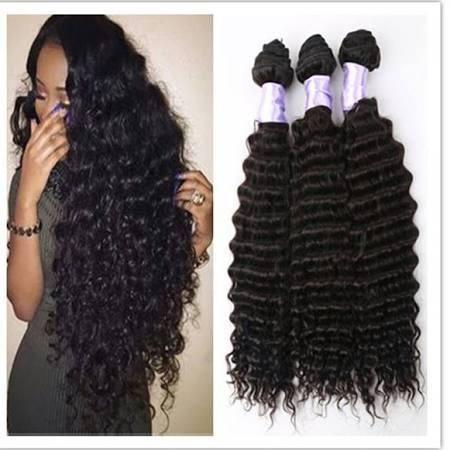 Wholesale-Brazilian Virgin Hair Deep Wave Brazilian Hair Weave Bundles Wet And Wavy Virgin Brazilian deep curly hair Weave 3Pcs Lot Human Ha - Brought to you by Avarsha.com