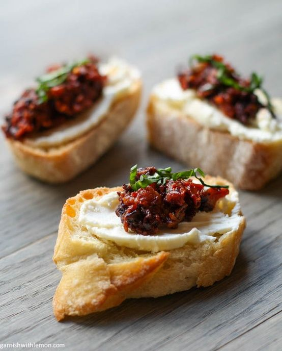 Sun-Dried Tomato, Kalamata Olive, Feta, and Cream Cheese Bruschetta