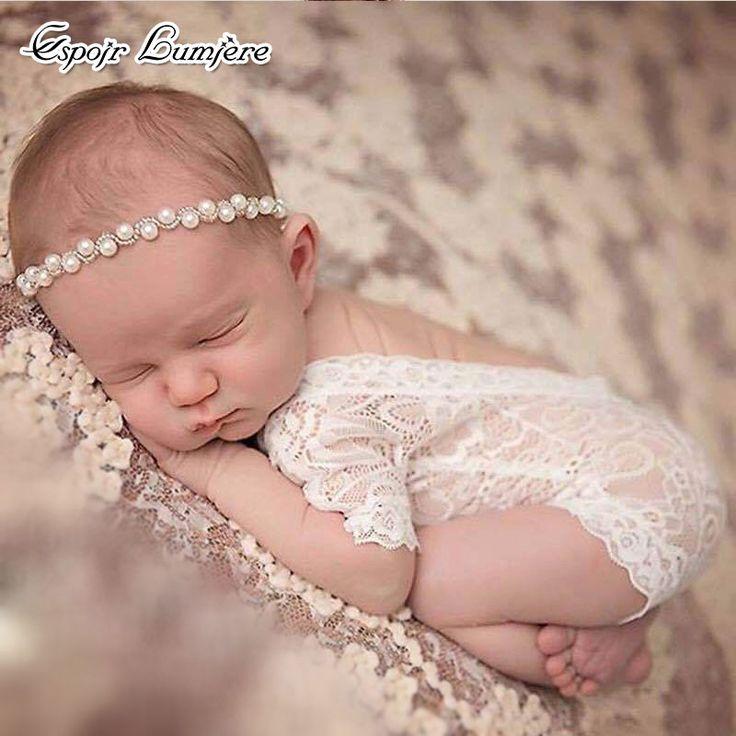 Новорожденных для маленьких девочек Подставки для фотографий для маленьких девочек Кружево комбинезон фотосессии реквизит новорожденного белые Кружево комбинезон короткая детская одежда