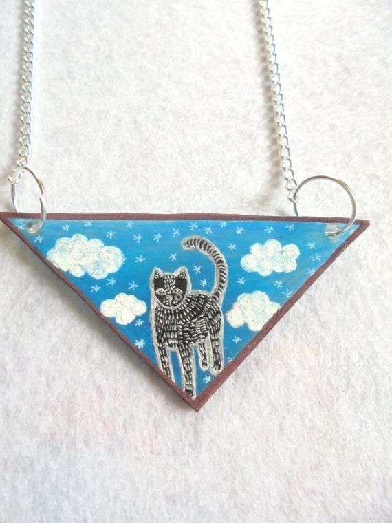 Cat in triangle necklace kitty necklace by PuepueGuzaque on Etsy