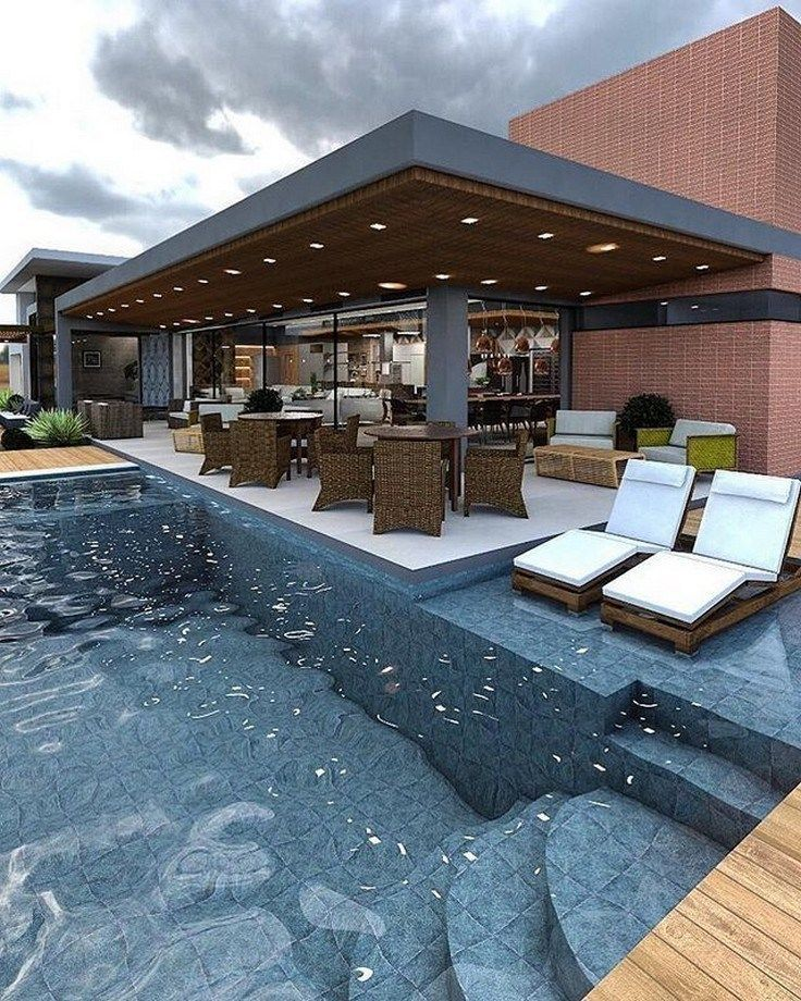 42 Attractive Backyard Swimming Pool Designs Ideas For Your Small Backyard Backyard Smallbackyard Backyard Pool Designs Pool Houses Swimming Pools Backyard