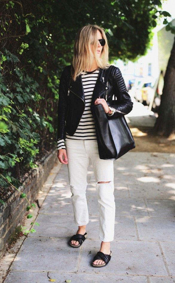 Layer a fitted leather jacket over a long-sleeve striped t-shirt for the perfect daytime outfit. // #StreetStyle #Fashion