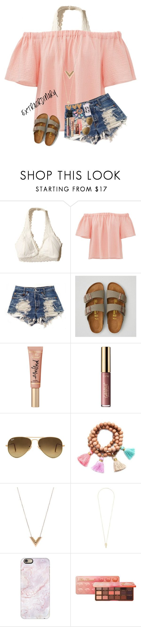 """""""(Extraordinary)"""" by mckenna1 ❤ liked on Polyvore featuring Hollister Co., Rebecca Taylor, Levi's, American Eagle Outfitters, tarte, Ray-Ban, Gold & Gray, Louis Vuitton, Noor Fares and Casetify"""