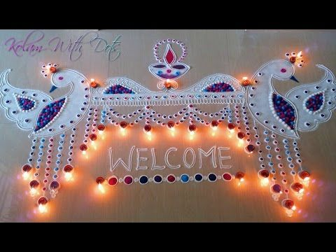 Beautiful Welcome Rangoli Designs with Colours For Festivals - Functions special Rangoli - By Maya! - YouTube