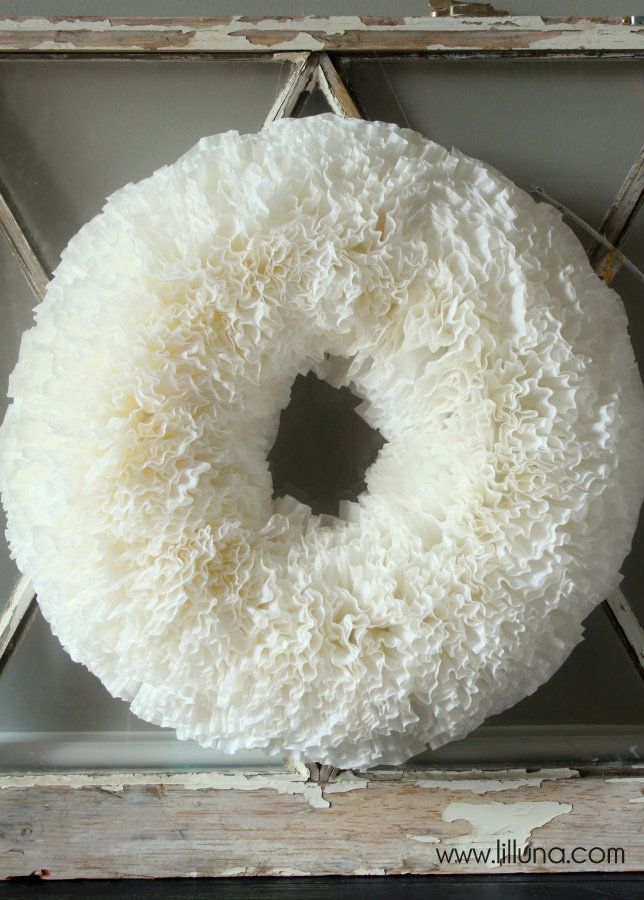 Easy Coffee Filter Wreath Tutorial on { lilluna.com }